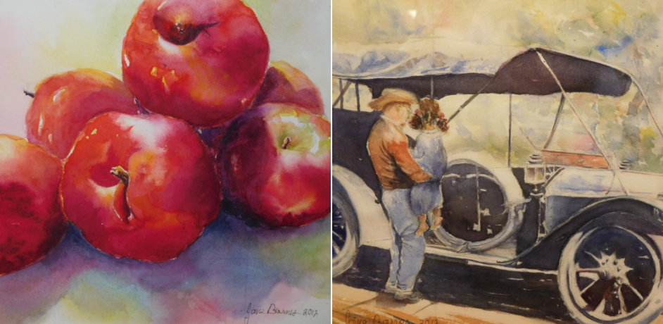 Apple Old Car Man Holding Girl Art