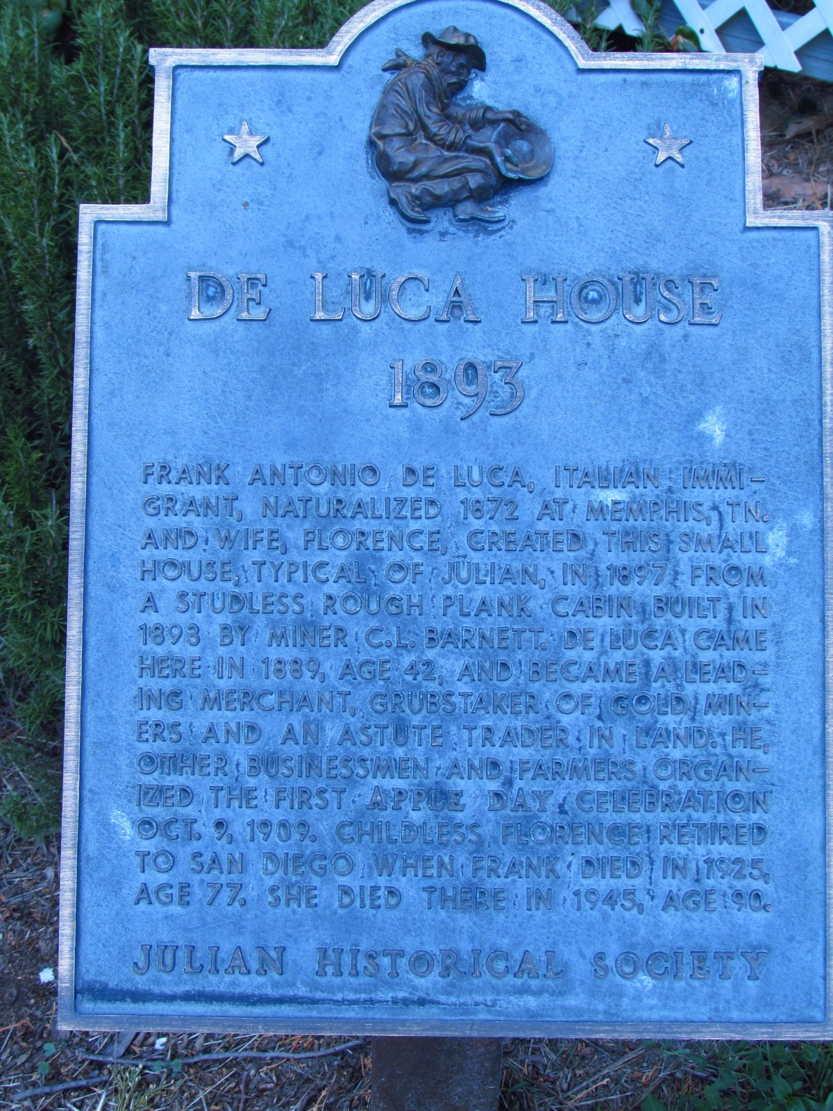 Julian Historical Society De Luca House Sign