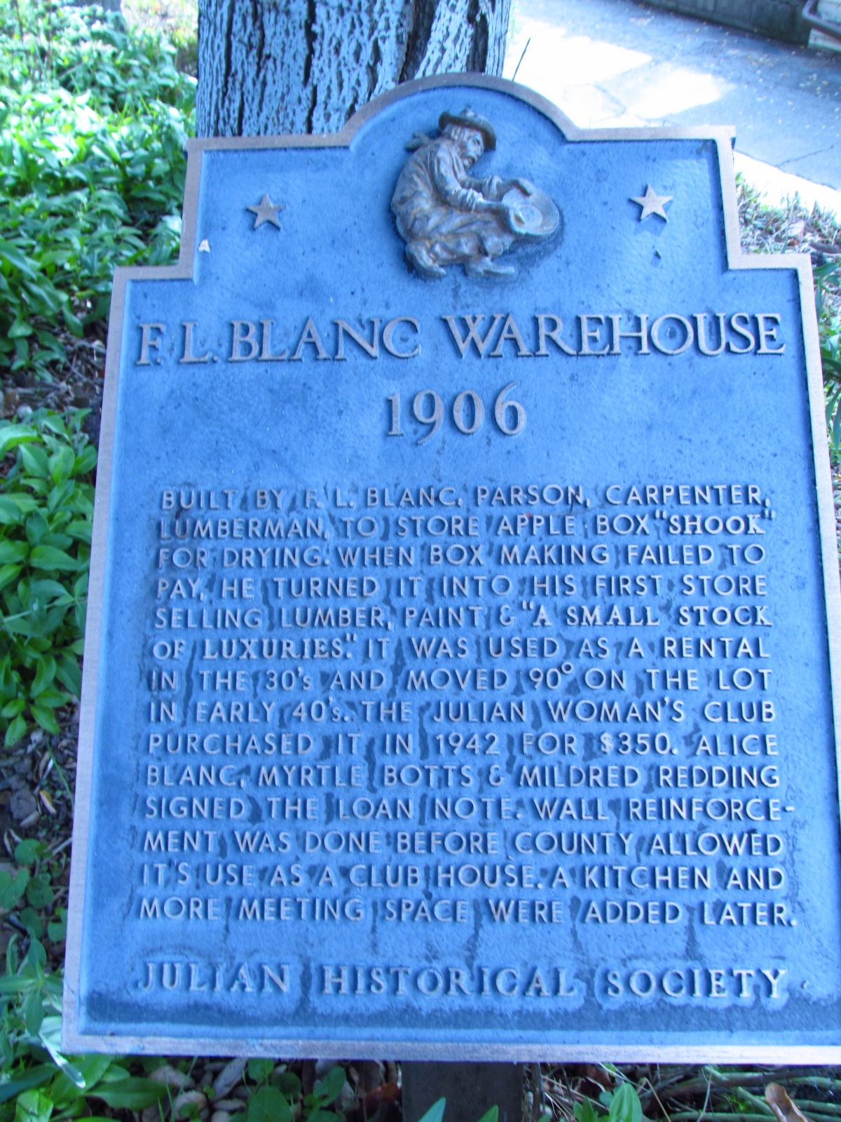 Julian Historical Society F.L. Blanc Warehouse Sign