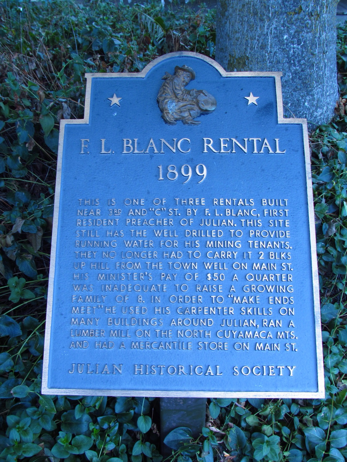 Julian Historical Society F.L. Blanc Rental Sign