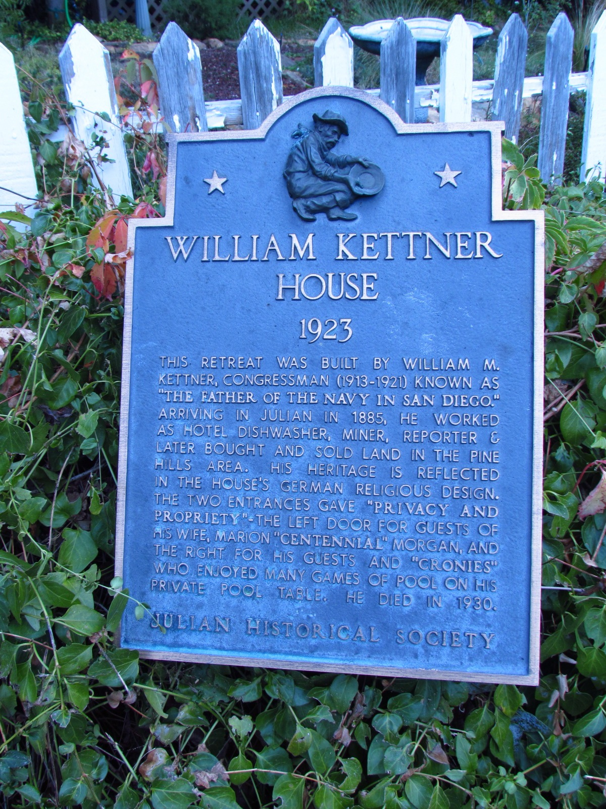 Julian Historical Society William Kettner House Sign