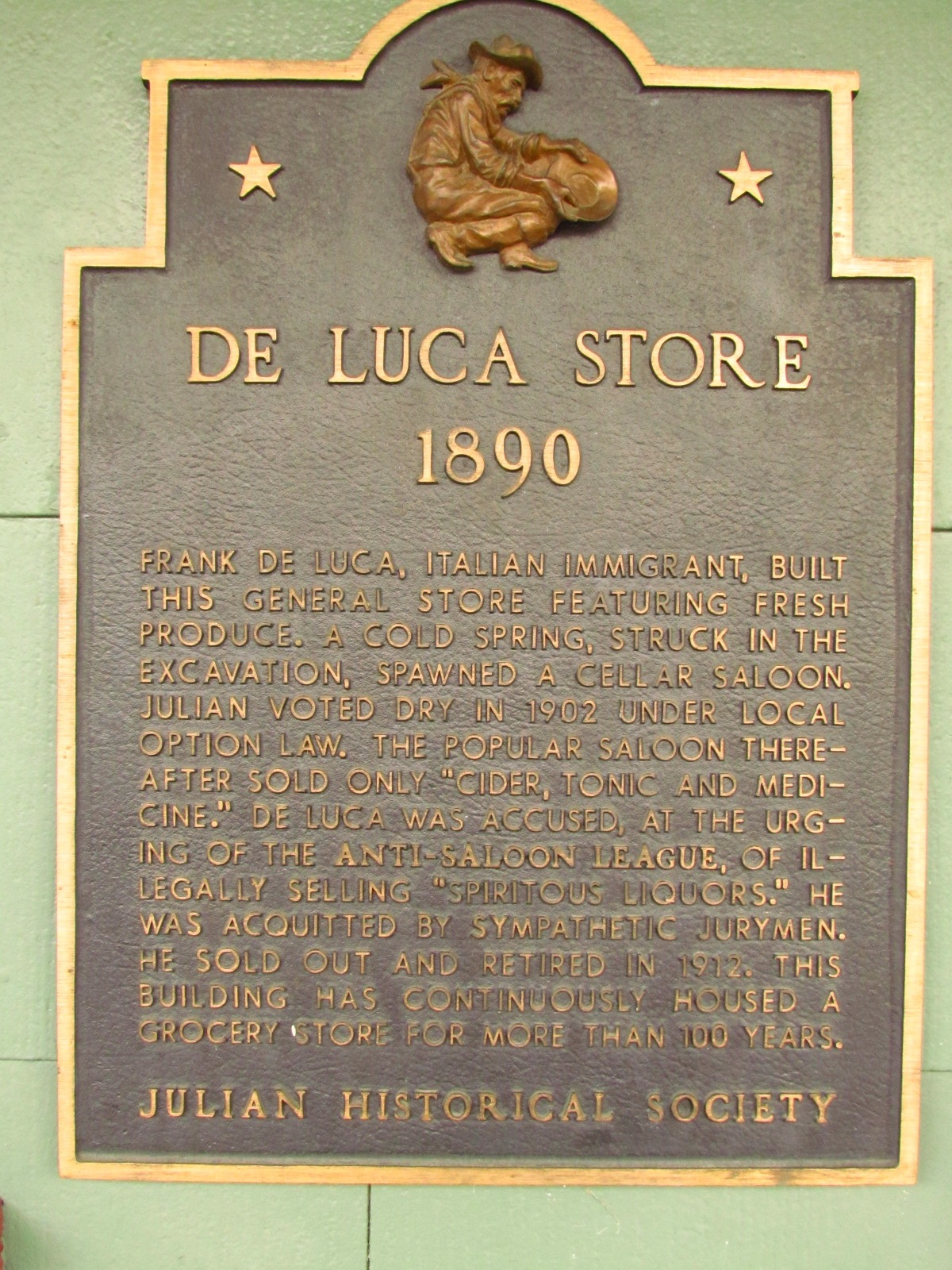 Julian Historical Society De Luca Store Sign