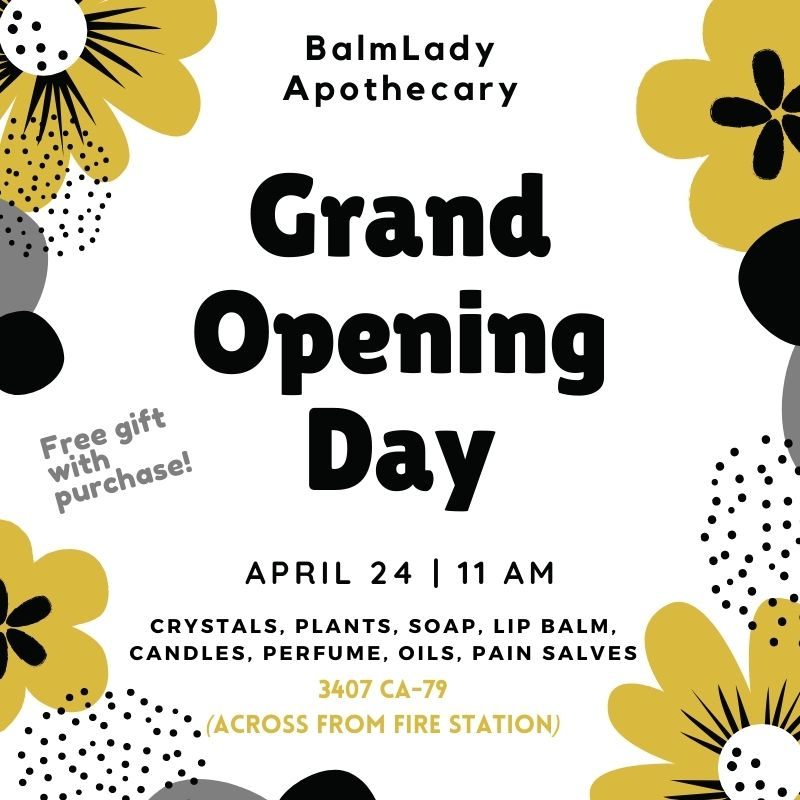 Grand Opening flyer for Balm Lady