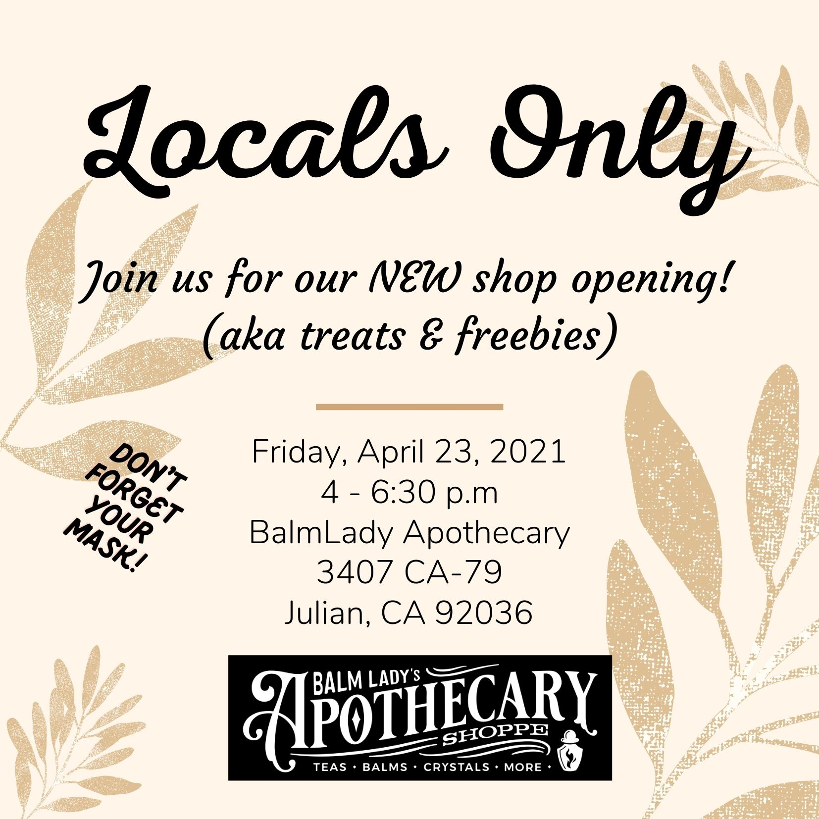 Apothecary Locals Only Invite Poster