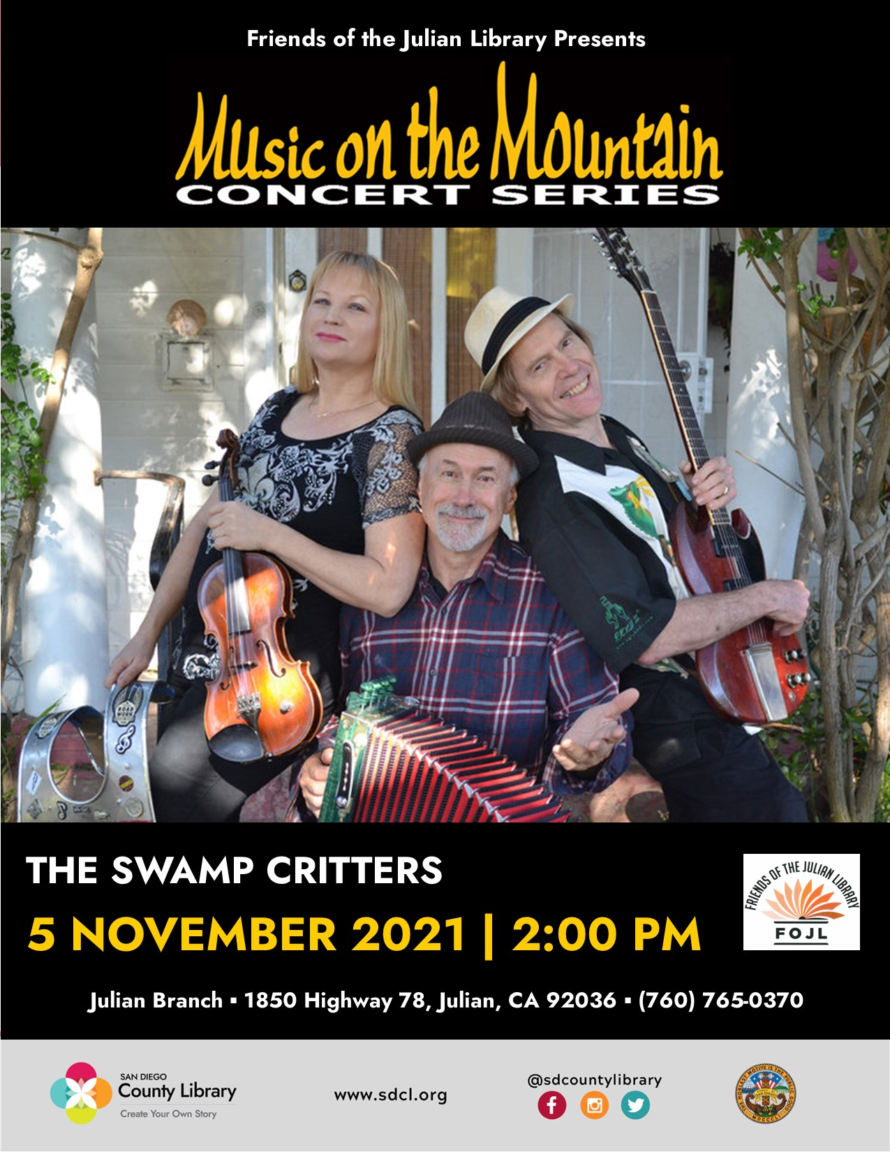 The Swamp Critters (NOV 2021) Music on the mountain concert series Poster